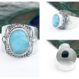 Wide Band Larimar Silver Jewelry Christmas Gift